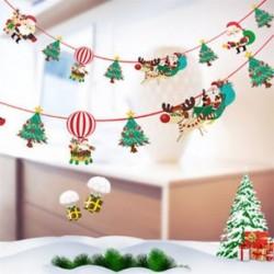 1db 2m hosszú Karácsonyi függő dekoráció - girland - Mikulás - Rénszarvas - Karácsonyfa mintás - 7