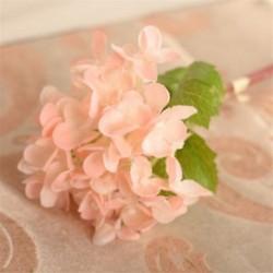 Világos rózsaszín Mesterséges hortenzia csokor selyem virágok levél esküvői menyasszonyi party lakberendezés