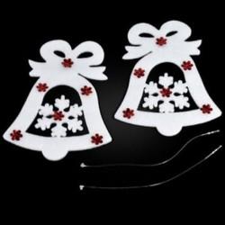 Karácsonyi harang 2PCS Christmas White Elk Bell szarvas díszek Xmas fa díszek Party Decor