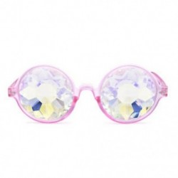 Rózsaszín Rave Kaleidoszkóp kerek szivárvány szemüveg diffrakciós kristály lencse Sunglasse