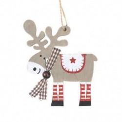 1db 105x95mm-es Világosszürke rénszarvas fa dísz - kockás sállal - Karácsonyi dekoráció