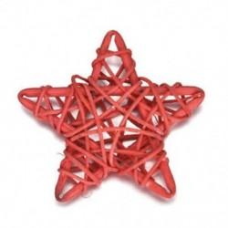 Piros 5Pcs / Set 6CM Rattan Csillagdísz Díszek DIY Karácsony / Születésnap &amp  Home Deor