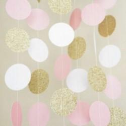 Rózsaszín arany csillogó kör pöttyös garland Banner sármány fél dekoráció Új