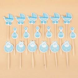Kék 18Pcs / Set Baby Shower Cupcake toppers Boy Girl kedvez a Party Birthday Cake Card-nak