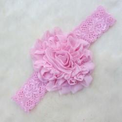 Rózsaszín Baba gyerekek szép csipke virág Stretch fejfedők Haj dekoráció Headdress fejpánt Új