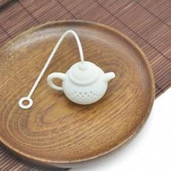 fehér Tartós teáskanna alakú teafúvószűrő teazsák levélszűrő diffúzor szilikon