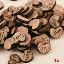 * 1 Szerelem 100db rusztikus, fából készült fa szerelem szív esküvői asztal Scatter dekoráció kézműves DIY