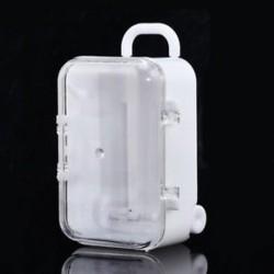 fehér Mini Rolling Travel bőrönd Candy Box Esküvő kedvez a Party Recepció Baby Toy