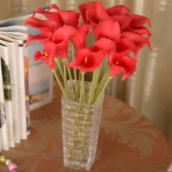 Piros Mesterséges calla liliom hamis selyem virágok csokor fej esküvői lakberendezés JP