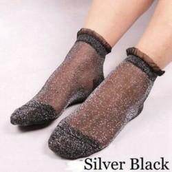 Ezüst fekete Ultrathin átlátszó színes csillogó kristály selyem csipke elasztikus rövid zokni ÚJ