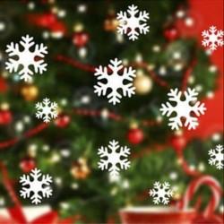 13Pcs fehér hópehely (5-8 cm) Kivehető hópehely harangok fal matrica vinil matrica vidám karácsonyi ablak dekoráció