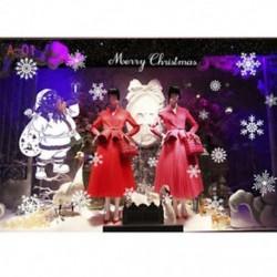 1PC A-01 (70X50CM) Kivehető hópehely harangok fal matrica vinil matrica vidám karácsonyi ablak dekoráció