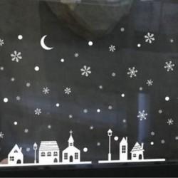 1db 25x35cm-es Havas táj ablakmatrica - Karácsonyi dekoráció