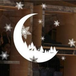 1PC Hold (25 * 35CM) Kivehető hópehely harangok fal matrica vinil matrica vidám karácsonyi ablak dekoráció