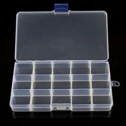 15 rekesz Műanyag 15/10/24 Slots Állítható ékszertároló doboz Box Craft Organizer Beads