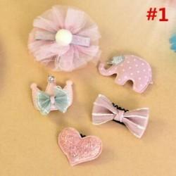 * 1 5Pcs / Set 6Pcs baba lány haj klipek készlet Bowknot virág szív korona fejfedők Kids Hairpins