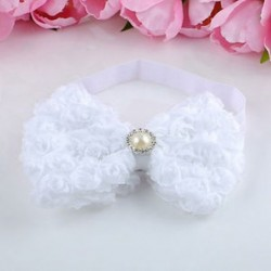 fehér Baba lányok gyerekek rózsa virág íj hajpánt puha rugalmas hajpánt haj kiegészítők