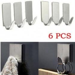 6PCS ragasztó konyhai fali ajtónyitó rozsdamentes acél pálca tartó horog fogas