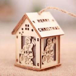 Kis Mikulás LED fény fa ház aranyos karácsonyfa lóg díszek Holiday Decor ajándékok