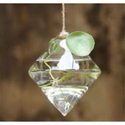Gyémánt alakú Üveg lógó labda váza virág növény pot terrárium konténer fél esküvői dekoráció