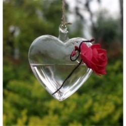 Szív alakú Üveg lógó labda váza virág növény pot terrárium konténer fél esküvői dekoráció