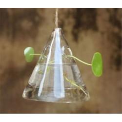 Háromszög alakú Üveg lógó labda váza virág növény pot terrárium konténer fél esküvői dekoráció