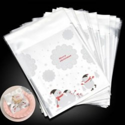 100PCS Öntapadós karácsonyi Hóember Party Decor Kezelje Cookie Candy Ajándéktáskák