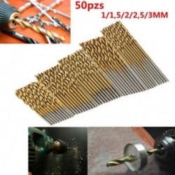 50Pcs / készlet Titán bevonatú HSS nagysebességű acélfúrószerszám 1 / 1,5 / 2 / 2,5 / 3mm