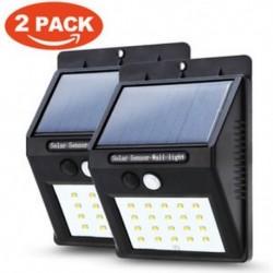 2 csomag 20 LED napenergia Power PIR mozgásérzékelő fali fény Kültéri kerti lámpa vízálló