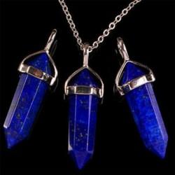 Lazurit Természetes kvarc kristály gyógyító pont Chakra drágakő medál nyaklánc ékszer