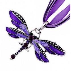 Lila Szitakötő varázsa függő strasszos Inlay Gemtone lánc nyaklánc ékszer ajándék