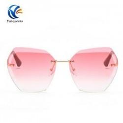 Arany keret   rózsaszín lencse Túlméretezett nők keret nélküli napszemüveg Retro sokszög optika fémkeret szemüvegek