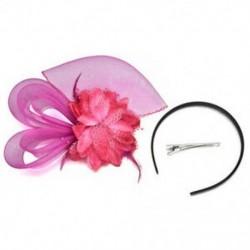 Rózsavörös Lady Fascinator tollas esküvői fél pillangó kalap fejpánt csipke fátyol kiegészítők