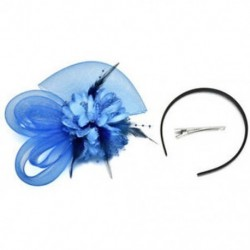 Mélykék Lady Fascinator tollas esküvői fél pillangó kalap fejpánt csipke fátyol kiegészítők