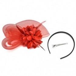 Piros Női Fascinator Feather Esküvői Party Pillbox Hat divat fejpánt Clip fátyol
