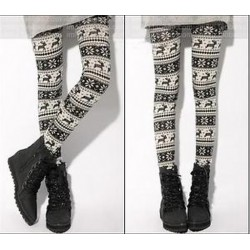 2. stílus Divat női kötött elasztikus hópehely Nordic rénszarvas harisnyanadrág nadrág