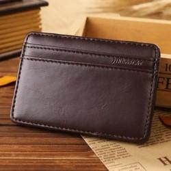 Fekete Férfi bőr mágneses pénz klip vékony pénztárca azonosító hitelkártya-tulajdonos ügy pénztárca új
