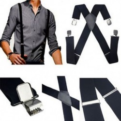 Vintage férfi elasztikus harisnyatartó bőr nadrág X-hátsó állítható Clip-on fekete