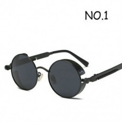 Fekete / szürke Hot Vintage polarizált Steampunk napszemüveg divat kerek tükrözött retro szemüveg