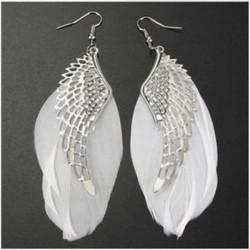 Vintage nők angyal szárnya toll Dangle fülbevaló hosszú csillár csepp fülbevaló