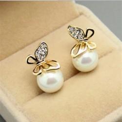 Divat ékszerek Női kristály arany pillangó gyöngy fül fülbevaló Xmas ajándék