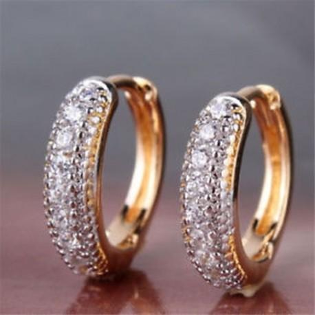 Női ezüst és arany töltött karika gyűrű Pave gyémánt fülbevaló elegáns ékszer ajándék