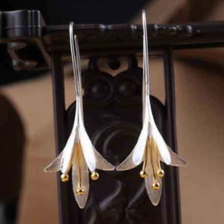 Kézzel készített 925 ezüstözött virágcsepp Dangle fülbevaló Vintage Retro ékszer Új
