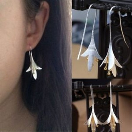 925 Ezüstözött virág fülbevaló Vintage kézzel készített csepp fülbevaló ékszerek