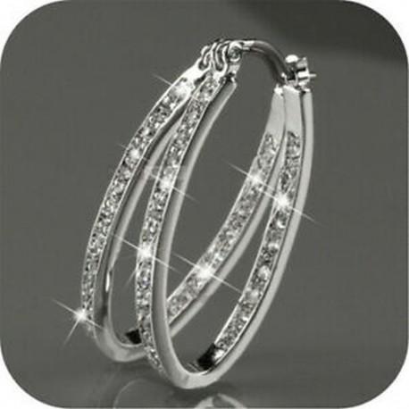 Női 9K arany töltött ezüst CZ kristály Big Hoop huggie esküvői fülbevaló ajándék