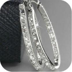Női 9K arany töltött ezüst CZ kristály nagy karika Huggie fülbevaló ékszer ajándék