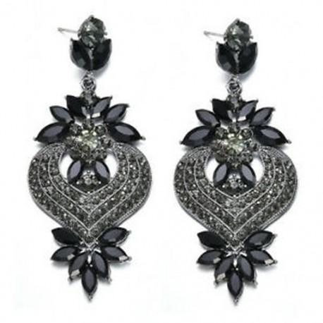 Fekete Női elegáns kristályos strasszos füldugó csepp fülbevaló esküvői ékszerek