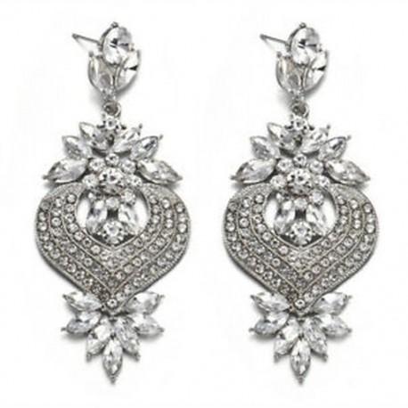 fehér Női elegáns kristályos strasszos füldugó csepp fülbevaló esküvői ékszerek