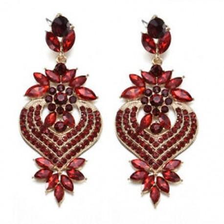 Piros Divat elegáns kristály strasszos fül Stud Dangle csepp fülbevaló Charm ékszerek