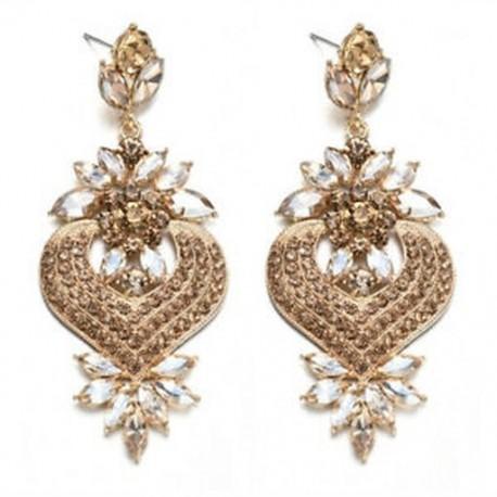 Pezsgő Nők csillogó kristály strasszos fül Stud Dangle csepp fülbevaló esküvői ékszerek